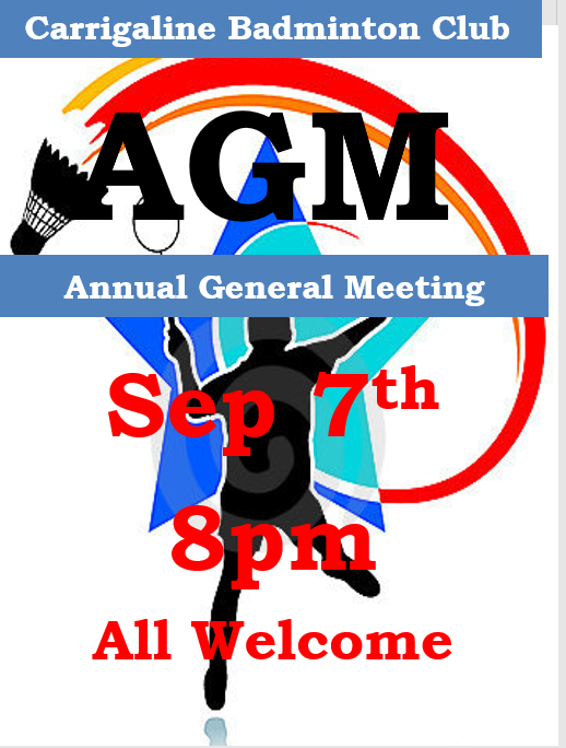 Carrigaline Badminton AGM Sept 7th 8pm All Welcome.