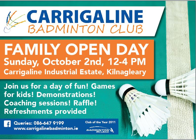 Family Open Day Sunday Oct 2nd 12-4pm